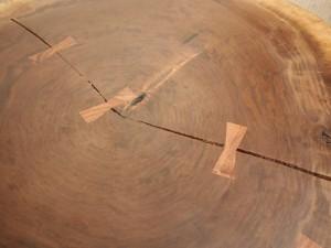 総ブラックウォルナット造り輪切りテーブル、完成20140730-14