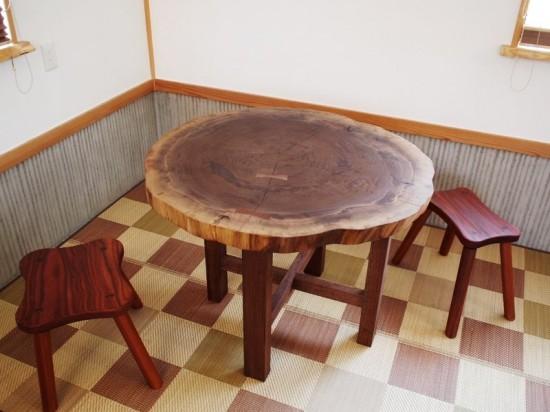 総ブラックウォルナット造り輪切りテーブル、完成20140730-15