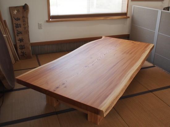 欅一枚板掘りごたつ用テーブル、完成20150804-4