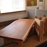 長野市中山様欅一枚板掘りごたつ用テーブル、完成20150804