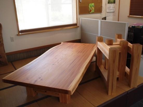 欅一枚板掘りごたつ用テーブル、完成20150804-1