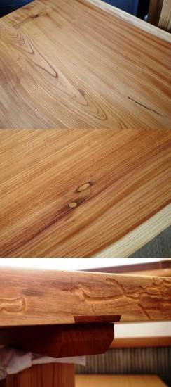 欅一枚板掘りごたつ用テーブル、完成20150804-3