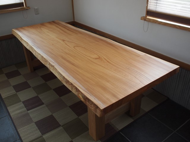 栃木県須山様欅一枚板ロングテーブル天板、完成!20130807