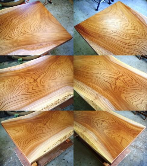 総欅造り一枚板デスク(ウレタン塗装)-2
