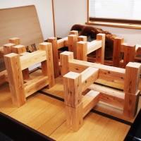 杉座卓脚とテーブル・座卓兼用脚4台分完成20130909