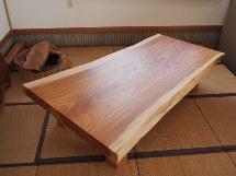 総欅造り一枚板厚盤座卓