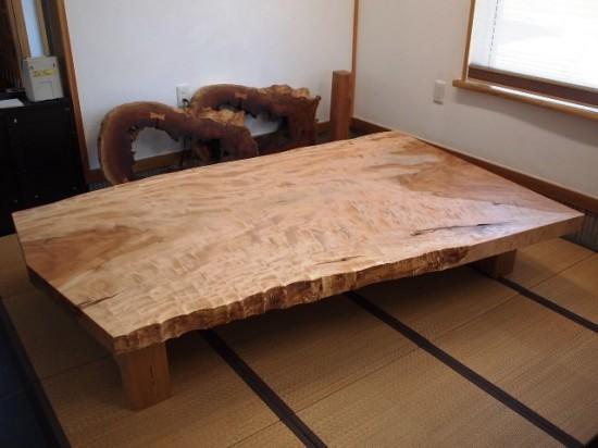 栃超広幅一枚板座卓完成!20130919-2