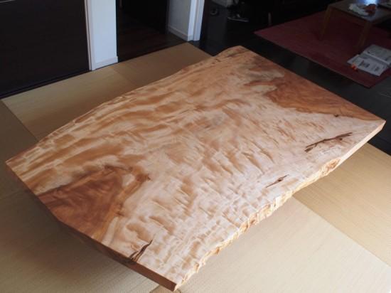 栃超広幅一枚板座卓完成!納品20130919