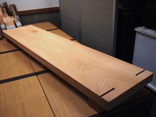 欅一枚板作業台オーダー製作完成20160929-4