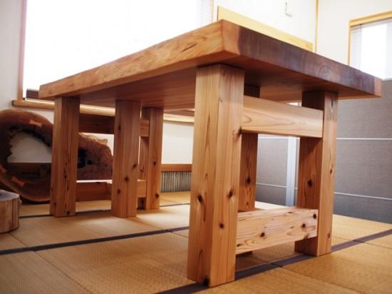 杉一枚板厚盤2WAYテーブル(テーブル・座卓兼用脚)2