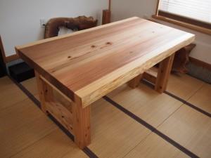 杉一枚板厚盤2WAYテーブル(テーブル・座卓兼用脚)3