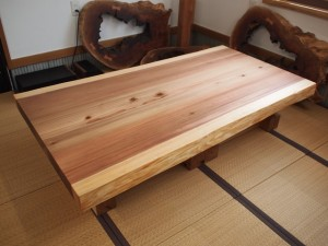 杉一枚板厚盤2WAYテーブル(テーブル・座卓兼用脚)4