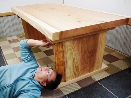 杉一枚板ダイニングテーブル完成!~総杉造り耳付き板脚タイプ~6