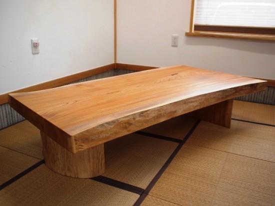 須永様欅一枚板座卓1