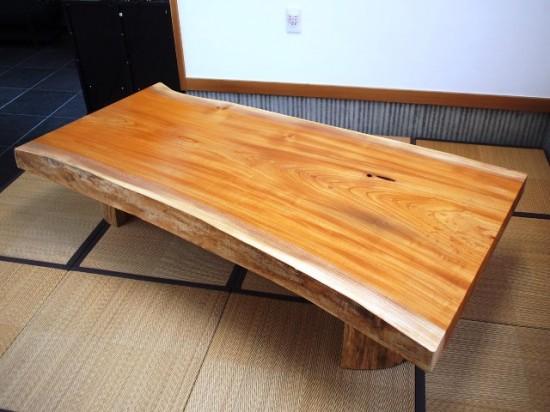 須永様欅一枚板座卓3