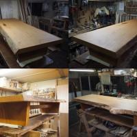 群馬県小島様の欅一枚板良杢盤座卓、完成!