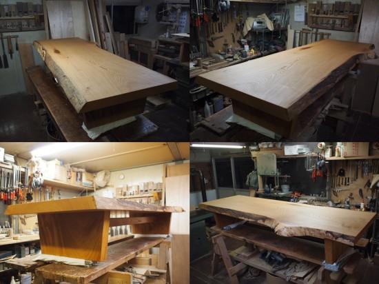 欅一枚板良杢盤座卓-7