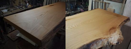 欅一枚板良杢盤座卓-3