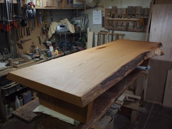 欅一枚板良杢盤座卓-1