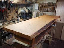 欅一枚板良杢盤座卓(総欅造り)