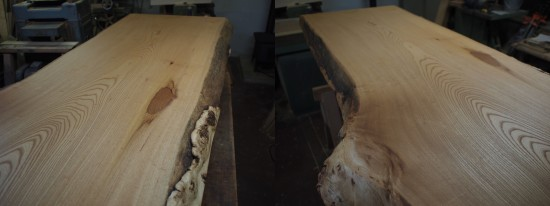 欅一枚板良杢盤座卓-5
