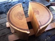 欅巨木丸太半割座卓脚
