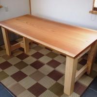 欅老木一枚板テーブル完成(ホワイトアッシュ兼用脚)