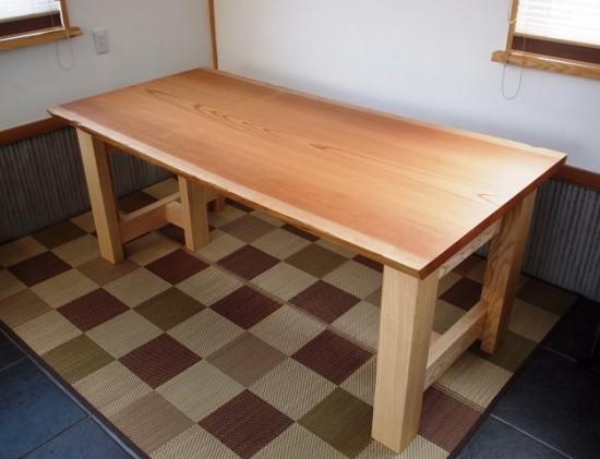 欅老木一枚板テーブル完成(ホワイトアッシュ兼用脚)1