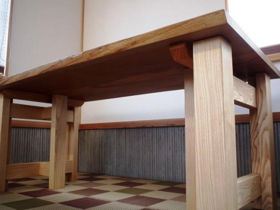 欅老木一枚板テーブル完成(ホワイトアッシュ兼用脚)2