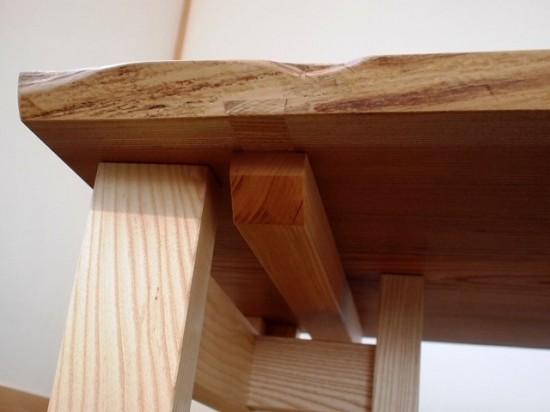 欅老木一枚板テーブル完成(ホワイトアッシュ兼用脚)4
