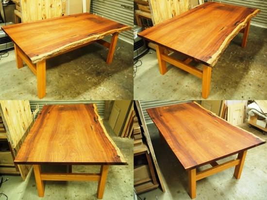 花梨(カリン)一枚板ダイニングテーブル完成2