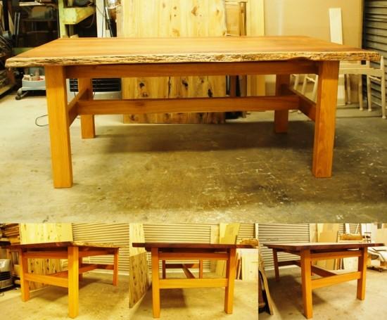 花梨(カリン)一枚板ダイニングテーブル完成4