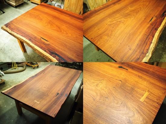 花梨(カリン)一枚板ダイニングテーブル完成3