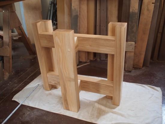 栃極上杢一枚板ダイニングテーブル・座卓兼用脚1