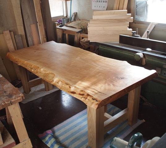 栃極上杢一枚板ダイニングテーブル・座卓兼用脚4