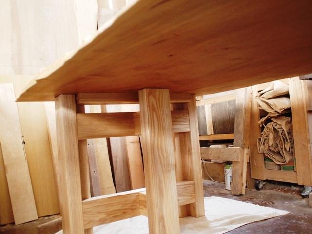 栃極上杢一枚板ダイニングテーブル・座卓兼用脚42