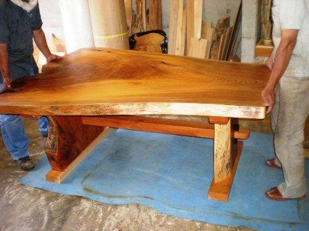 欅一枚板ダイニングテーブル組立6