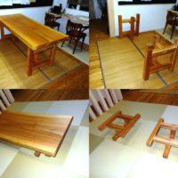 お客様のDIY作品「杉一枚板テーブル・2WAYタイプ脚」~群馬県・永井様~