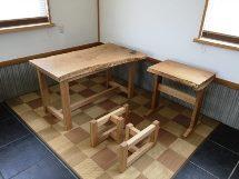 総栗造り一枚板テーブル・レンジ台・座卓脚