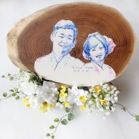 お客様のDIY作品「結婚式のウェルカムボード2(エンジュ切株輪切り一枚板)」~滋賀県・江頭様~