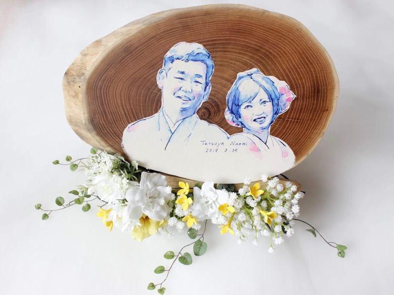 エンジュ輪切りの結婚式ウェルカムボード20180406-1