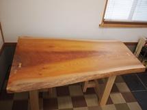 欅広幅厚盤一枚板テーブル(杉テーブル・座卓兼用脚)