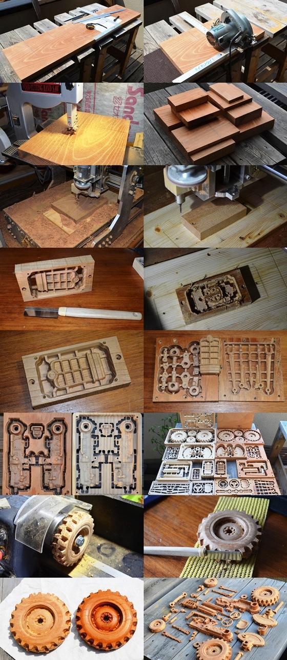 欅造り木のプラモデルトラクターFORD871 1/48モデル製作工程