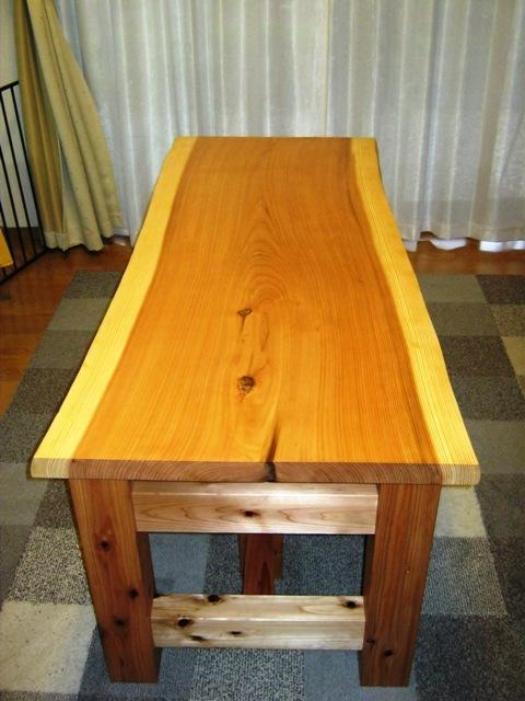 杉一枚板打ち合わせテーブル4