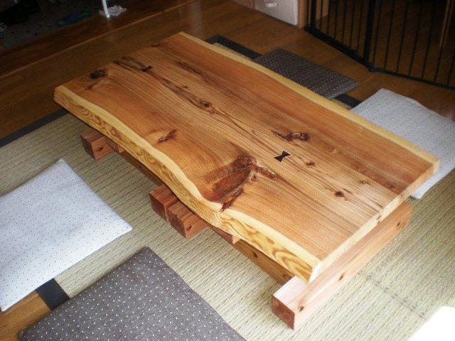 杉一枚板のダイニングテーブル(座卓兼用)3