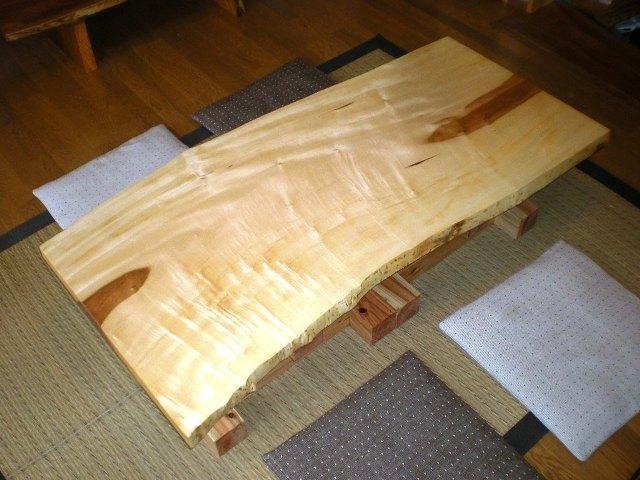 栃一枚板のダイニングテーブル(座卓兼用脚)3