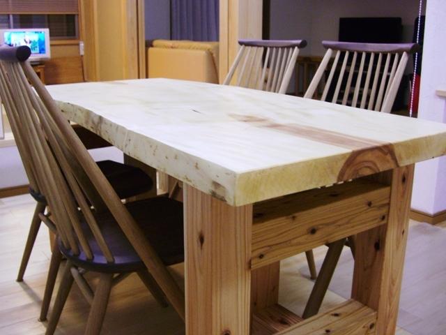 栃一枚板のダイニングテーブル(座卓兼用脚)6