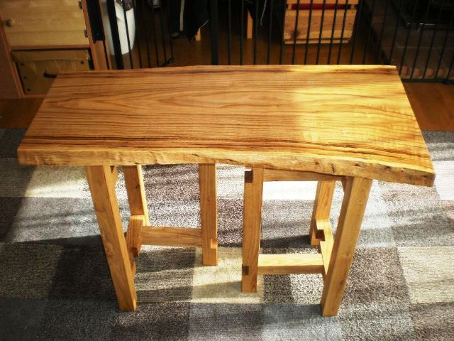 栗一枚板天板とサイドテーブル・酒卓兼用脚1