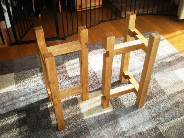 栗一枚板天板とサイドテーブル・酒卓兼用脚5