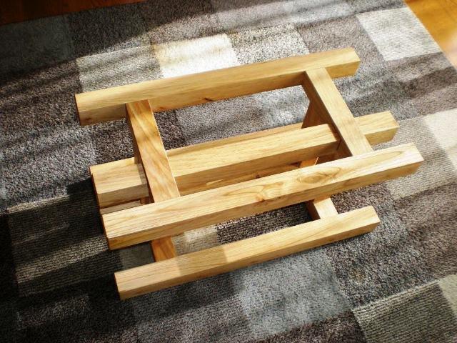 栗一枚板天板とサイドテーブル・酒卓兼用脚6
